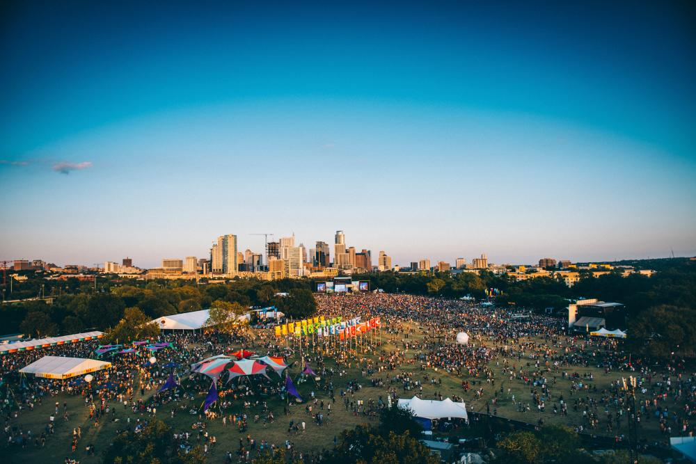city skyline over zilker park during Austin City Limits Music Festival