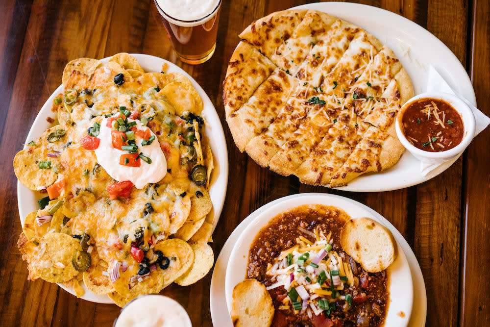 Comfort Food in Brighton - nachos, chili, cheese bread