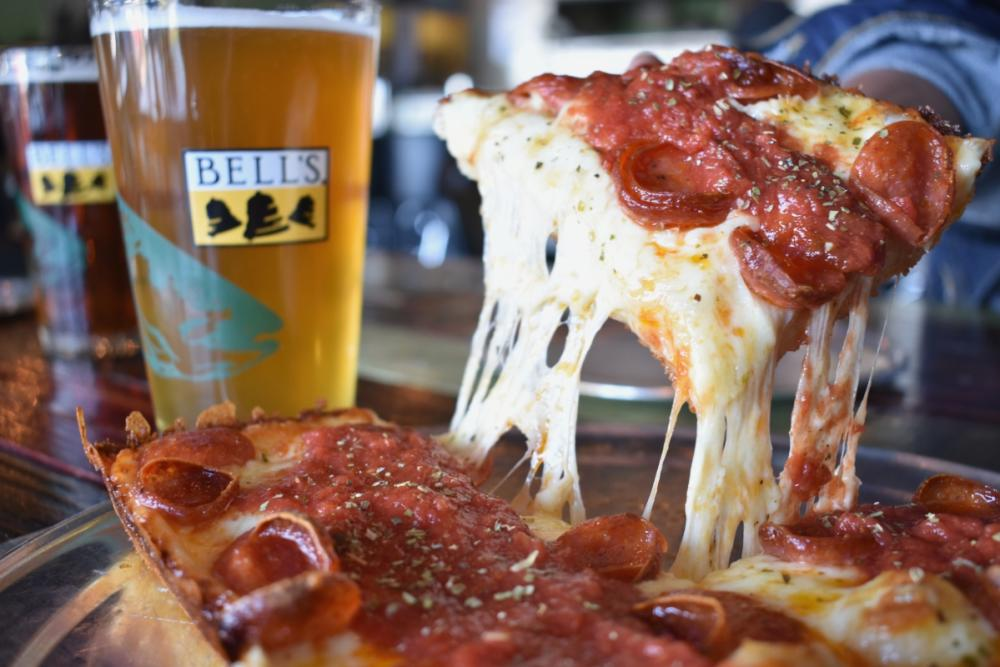 Bells Beer and Detroiter Pizza from via 313 in austin texas