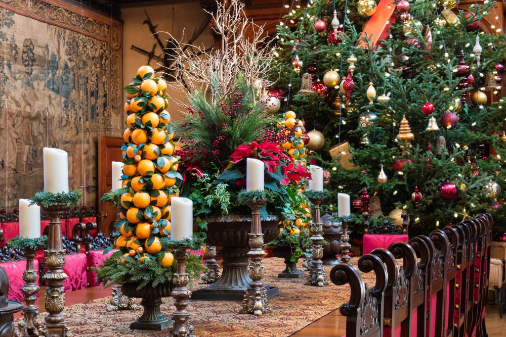 Christmas at Biltmore features amazing details such as these centerpieces on the Banquet Hall table.