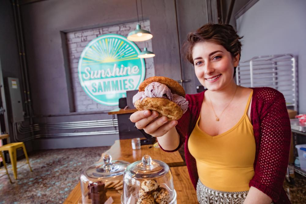 Enjoy a handmade ice cream sandwich at Sunshine Sammies in Asheville, NC