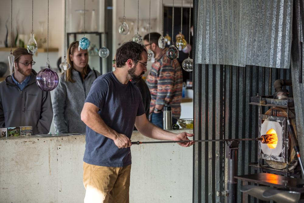 Glass Blowing Demonstration in Asheville's River Arts District