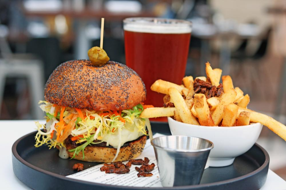 seasonal Grim Reaper Burger at Second Bar and Kitchen in austin texas