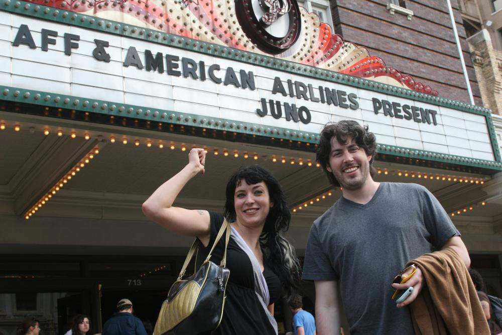 Man and woman at paramount theater for austin film festival