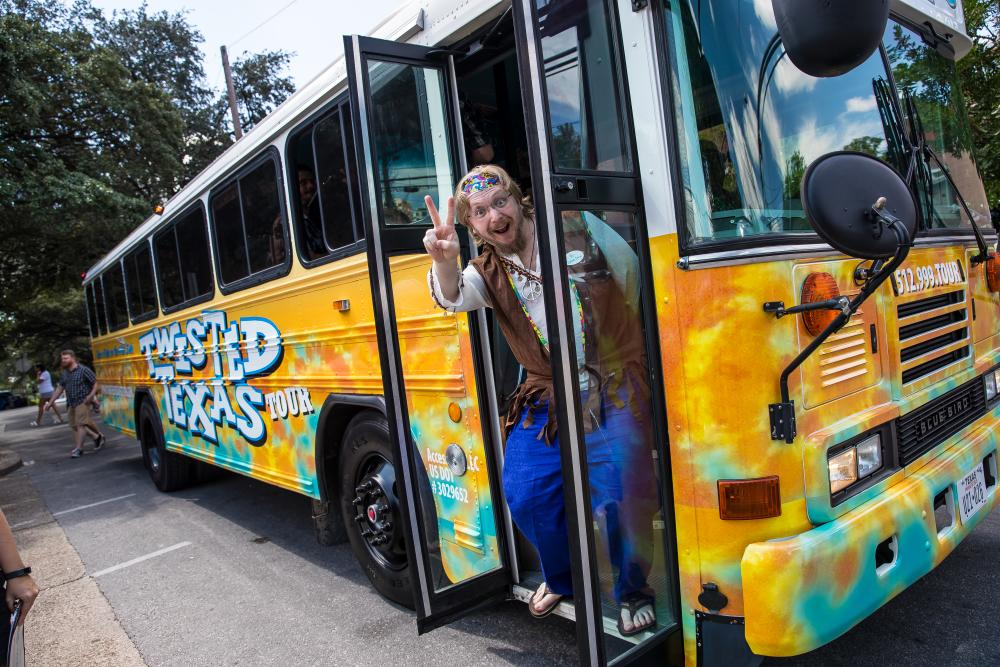tour guide with bus for Twisted Texas Tours Keepin it Weird Tour in austin texas