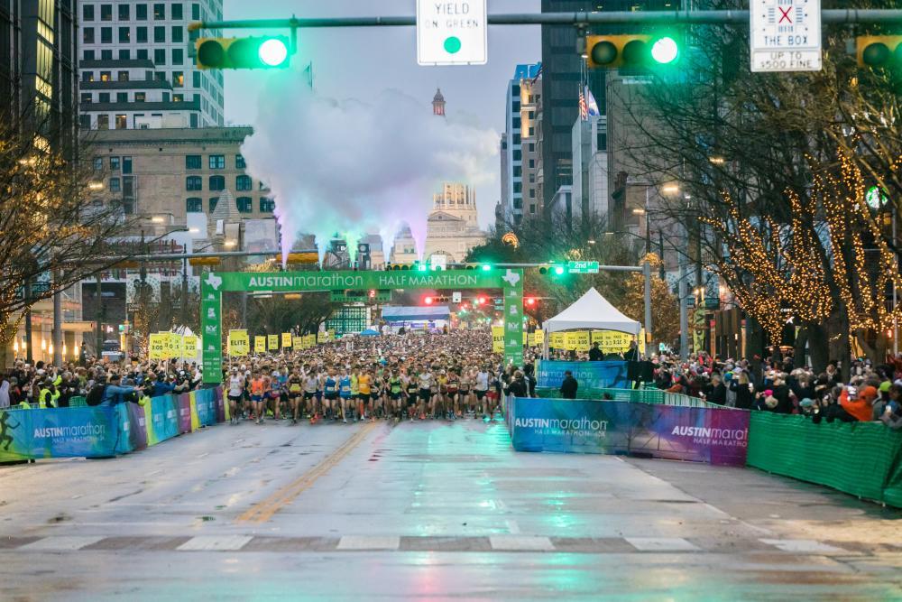 Austin Marathon and Half Marathon runners at the starting line in austin texas