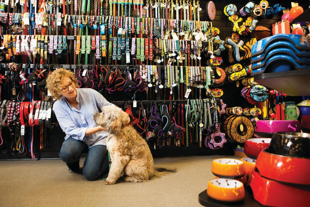 woman and dog shopping for collars at Tomlinsons Feed in austin texas