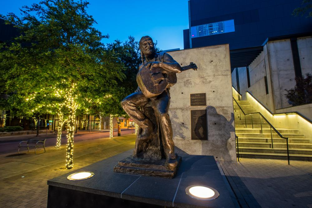 Willie Nelson Statue at ACL Live at the Moody Theater in the 2ND Street District in austin texas