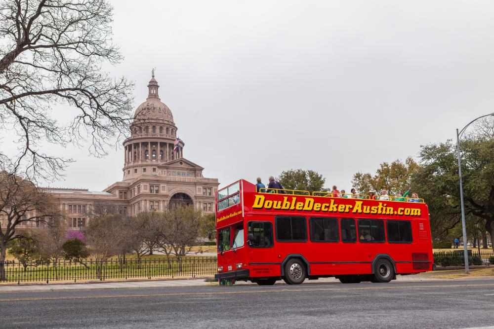 Double Decker Bus tour at the texas state Capitol Building in austin