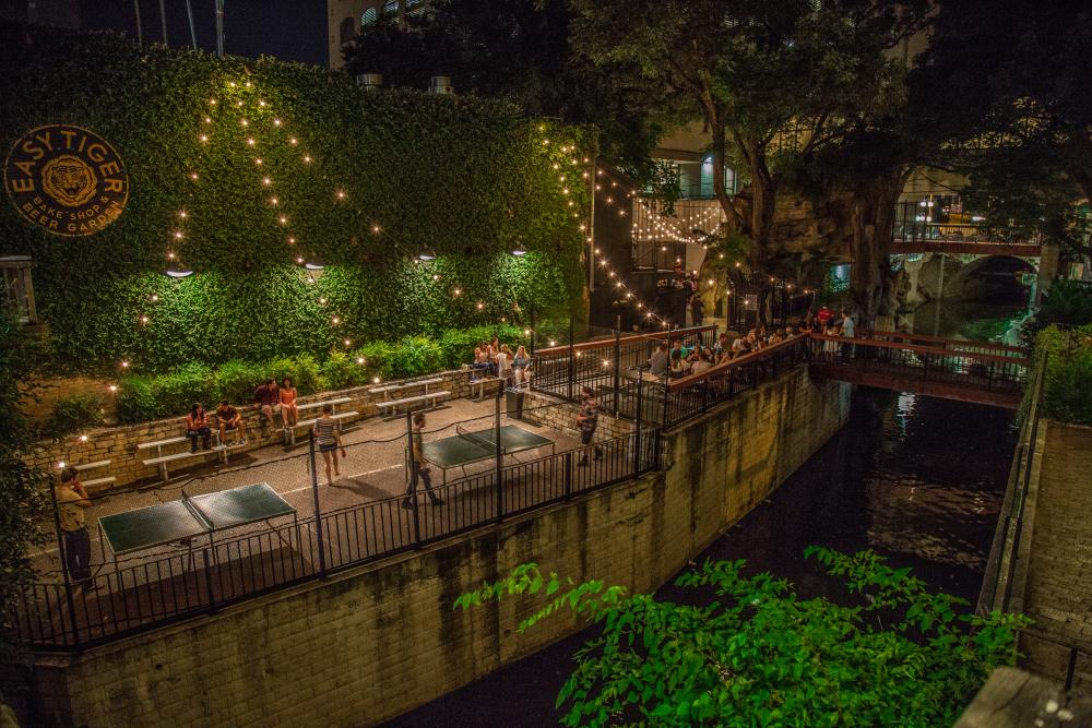 Easy Tiger bakery and beer garden on Waller Creek in austin texas
