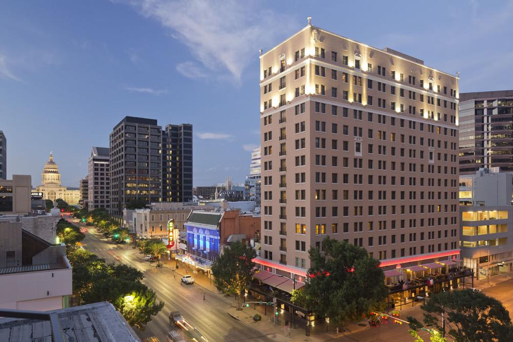 InterContinental Stephen F Austin hotel on congress avenue with capitol building in austin texas