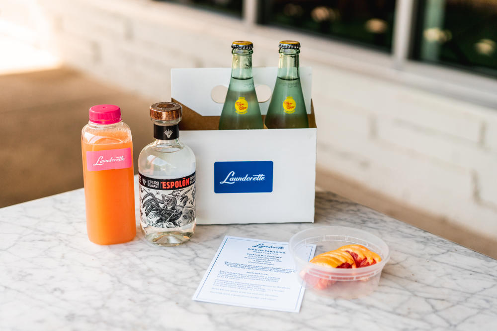 Bird of Paradise Cocktail Kit with juice mix espolon tequila grapefruit and topo chico from Launderette in Austin Texas