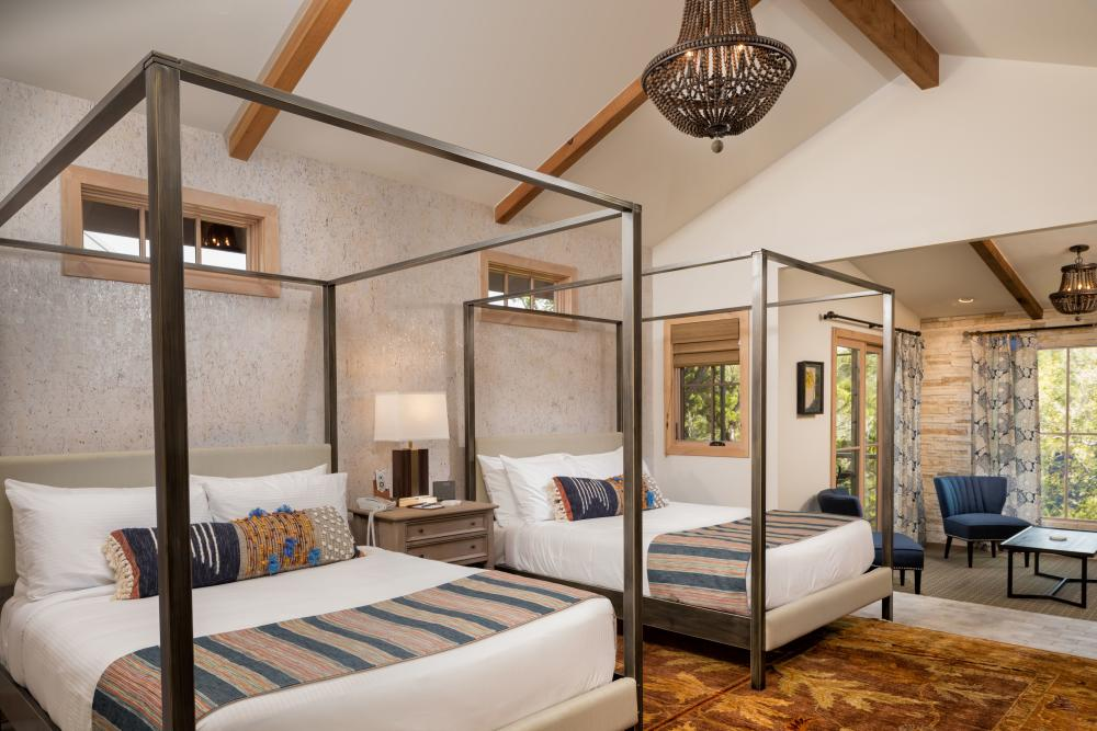 Guest room with double beds at Camp Lucy near Austin Texas