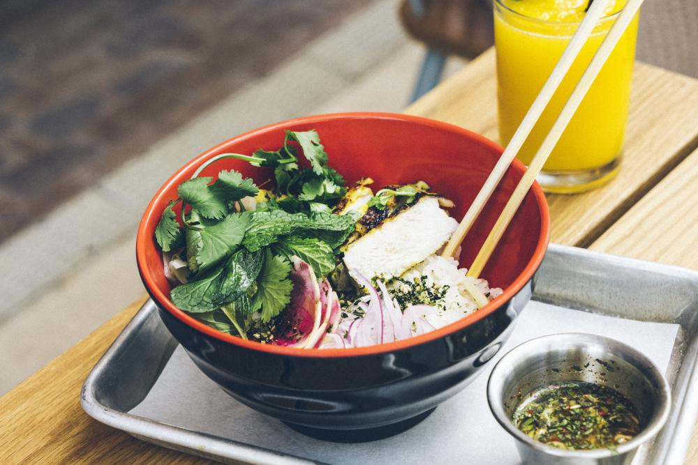Grilled Malaysian Chicken Rice Bowl from Loro in Austin Texas