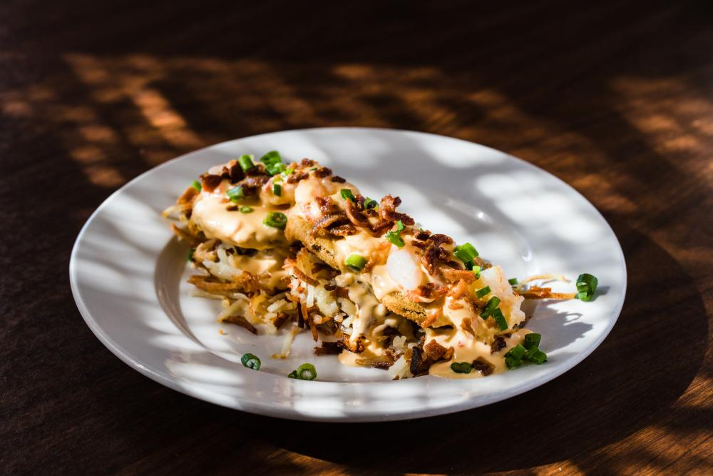 Café Strudel Lexington's Lowcountry Hashbrowns with Pimento Cheese
