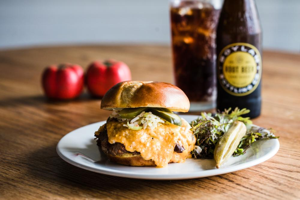Spotted Salamander's Pulled Brisket Sandwich with Pimento Cheese
