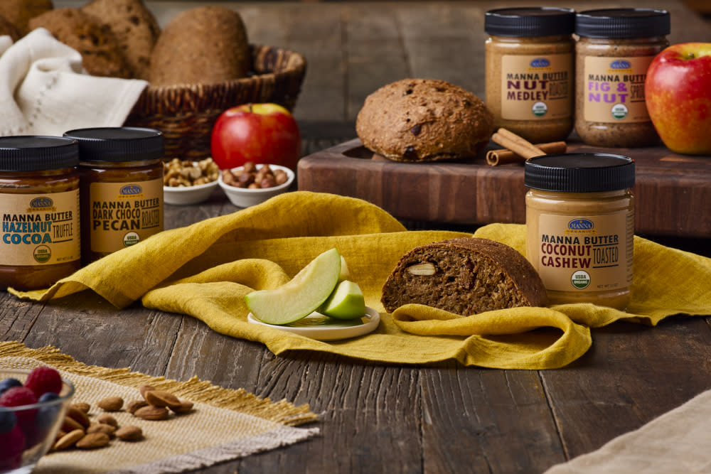 Bread and various types of nut butters from Manna Organics