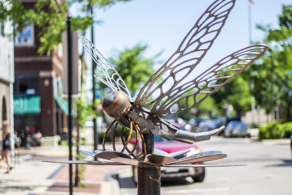 "Crysten Nesseth is the artist behind 'Anisoptera,"" in downtown Eau Claire."