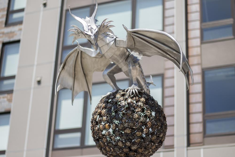 'Rock Dragon' by Heather Wall is located near Haymarket Landing in downtown Eau Claire.