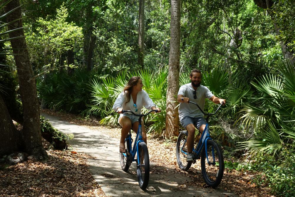 Couple biking in Flagler Beach