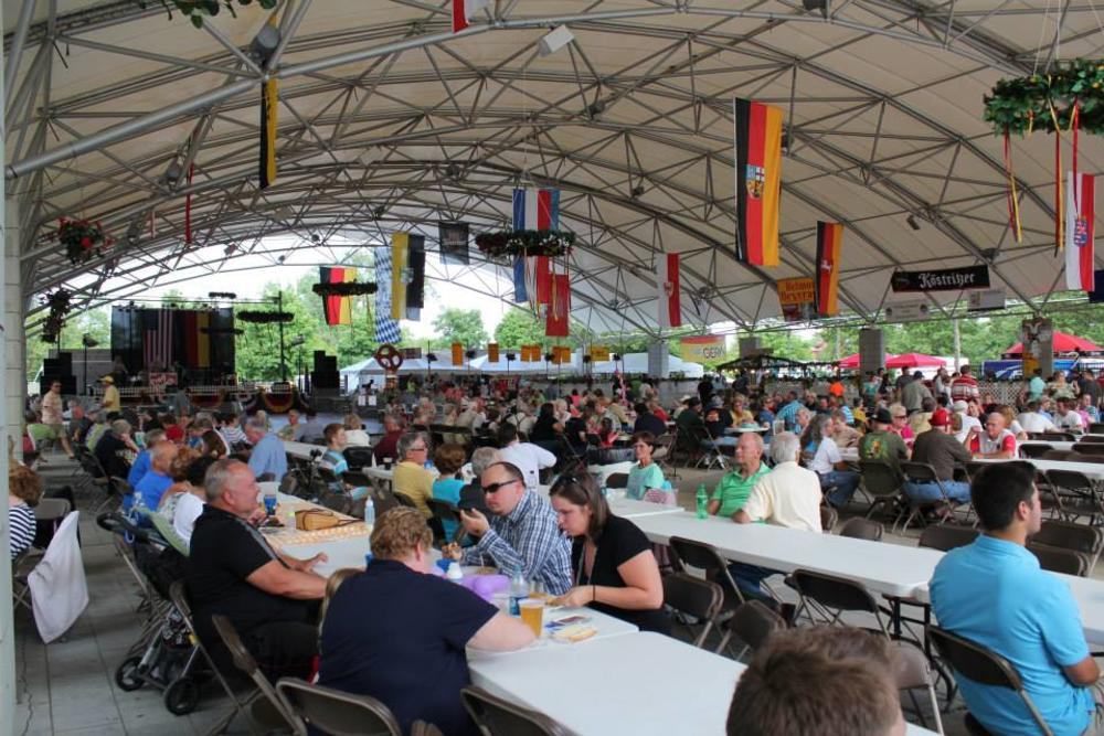 Crowd at tables at GermanFest