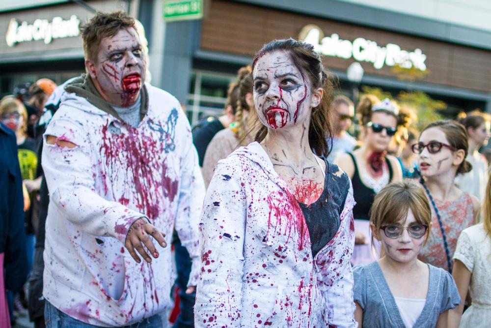 Creepy creatures walking the streets during the annual Zombie Walk