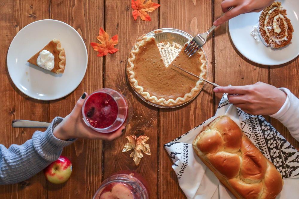 meal photo of pie beside bread