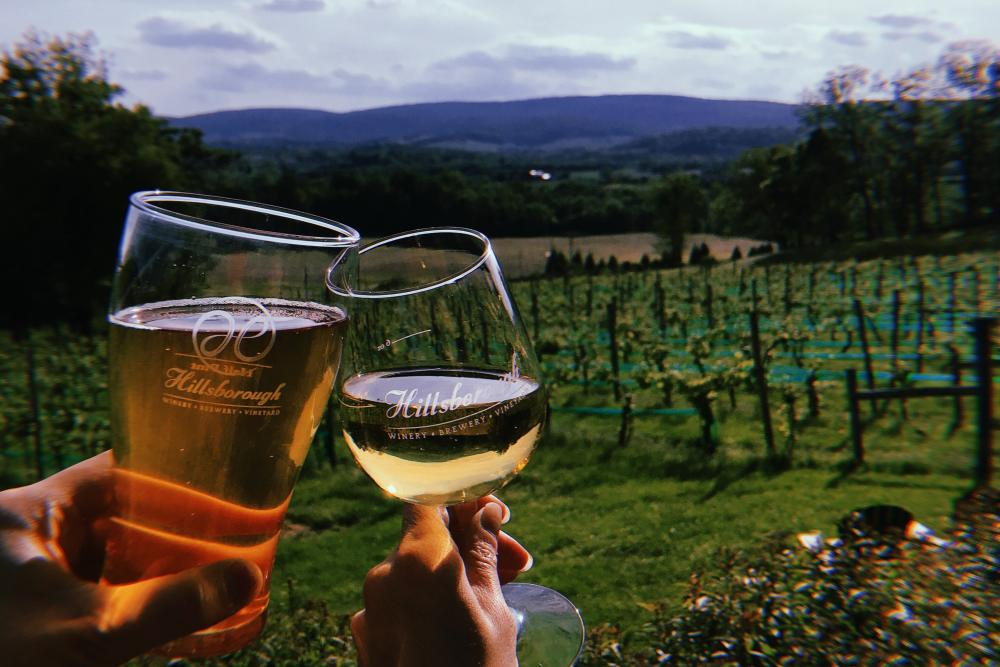 Beer and wine cheersing at Hillsborough Vineyard and Brewery