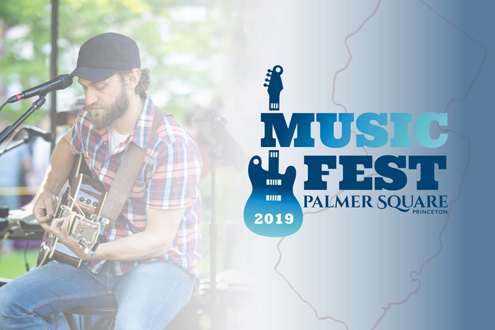A man playing guitar with overlaid text the reads Music Fest 2019 Palmer Square