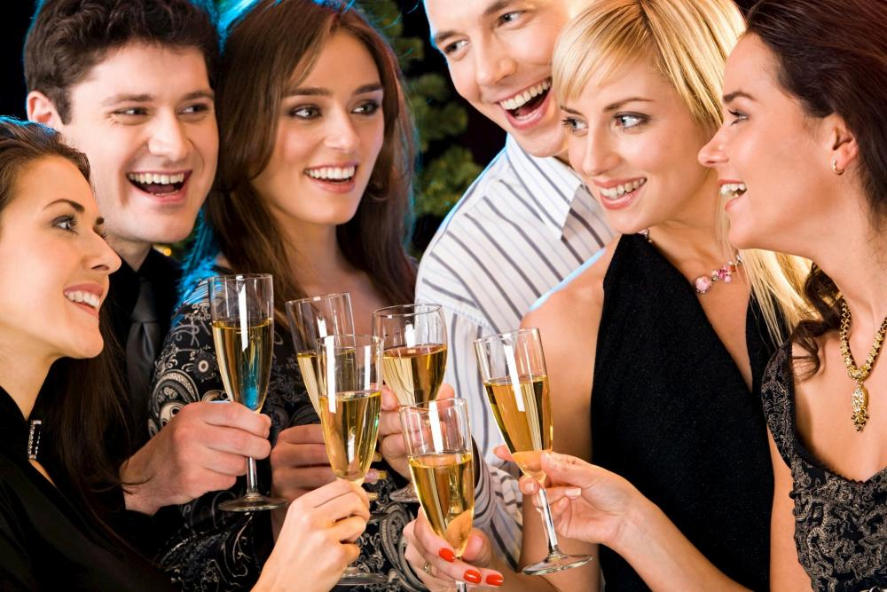 Stock photo of friends celebrating New Years Eve