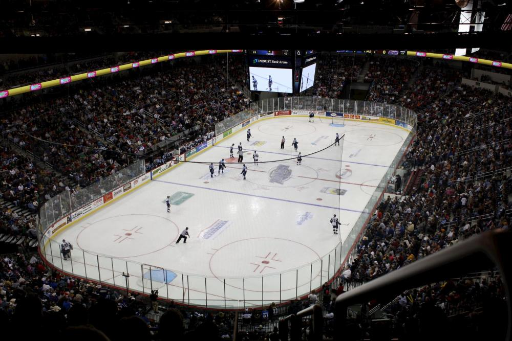 Fans pack INTRUST Bank Arena for a Wichita Thunder hockey game