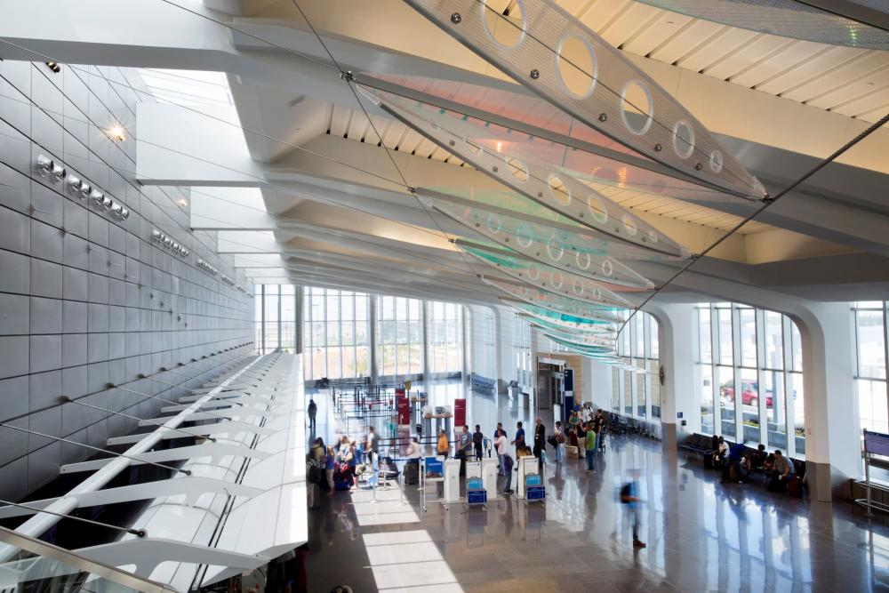 A bird's eye view overseeing passengers waiting to check in at the remodeled terminal in Wichita