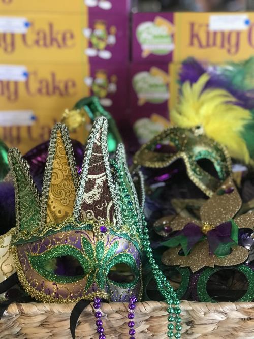 Raos King Cake and Mardi Gras mask