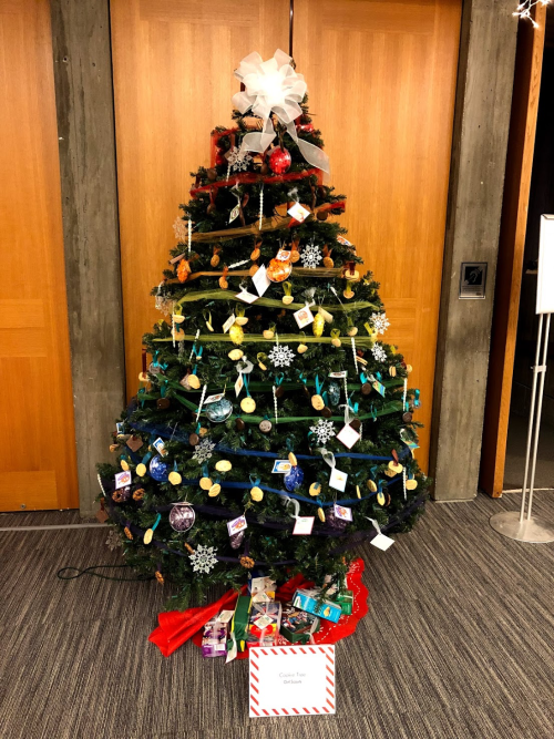 A decorated holiday tree at the Everson Museum's Festival of Trees