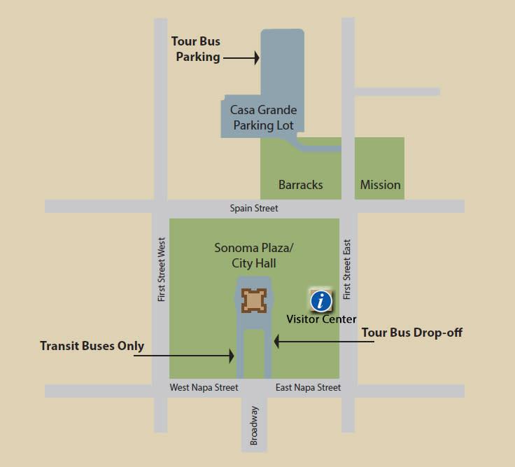 Bus drop-off Sonoma Plaza