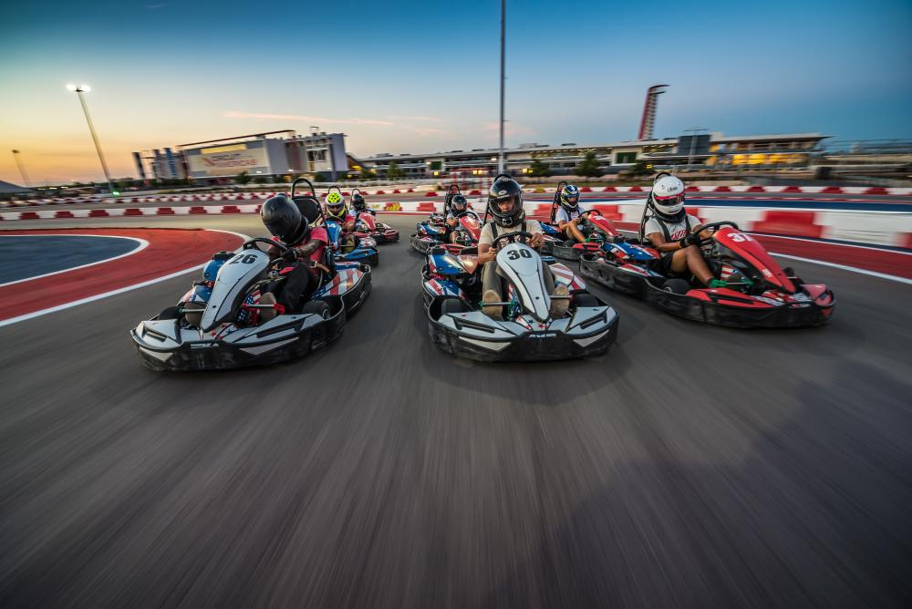 People on go karts at COTA Karting at circuit of the americas in austin texas