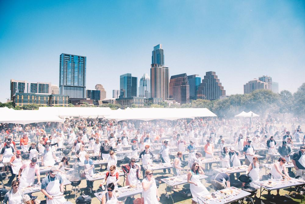 Austin Food and Wine Festival at view of downtown skyline in Austin Texas