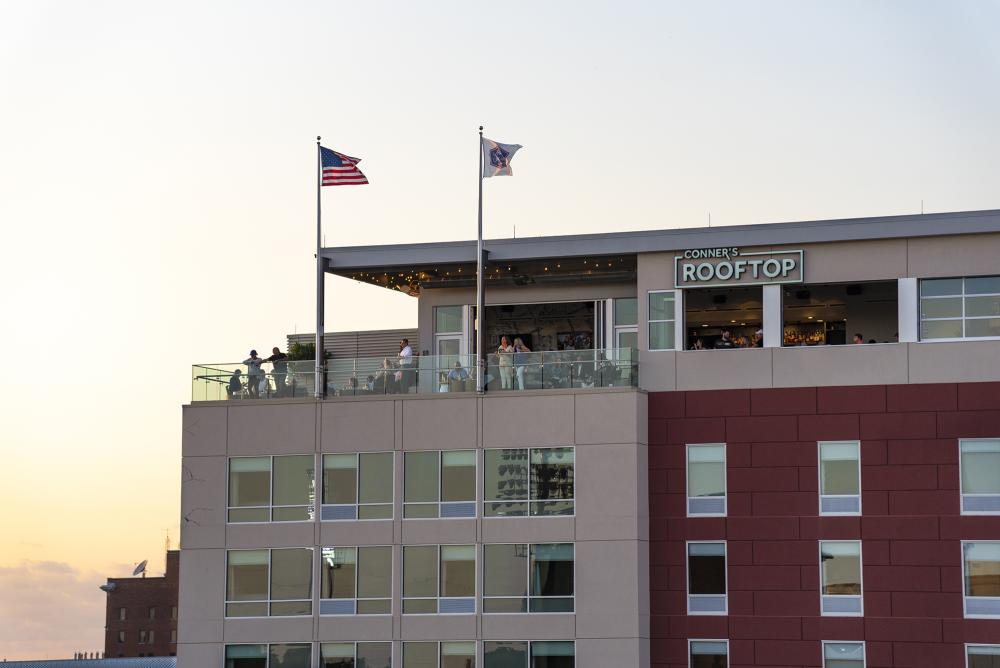 Guests enjoying Conner's Rooftop bar in downtown Fort Wayne