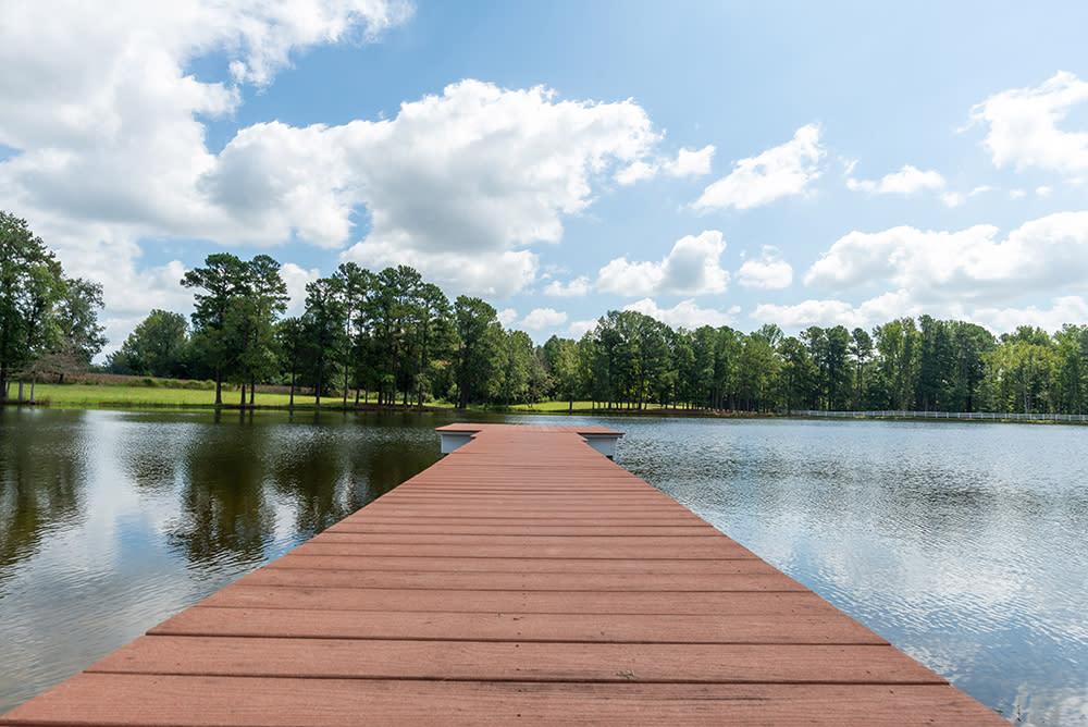 The Pond at Lazy O Farm, a wedding venue, near Smithfield, NC.
