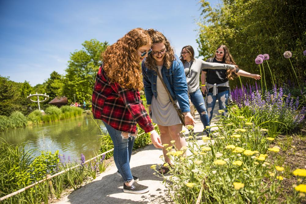 a group of girls inspect the flowers off the side of the path.
