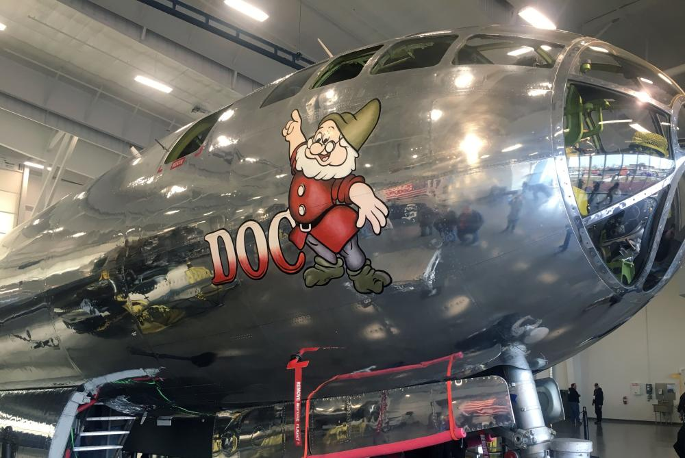 A close-up shot of the front of the B-29 showing some detail and the Doc logo on the side