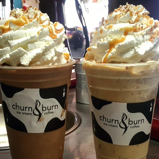 Two tall chocolate espressos with whipped cream and caramel from Churn & Burn in Wichita