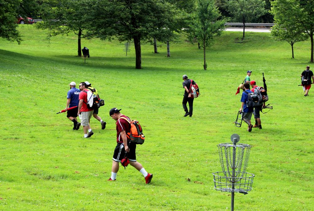 Disc Golfers at a shotgun start