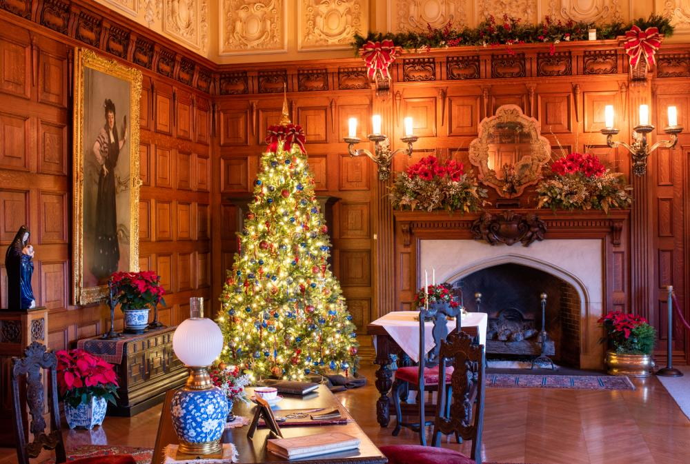 A sitting room decorated for Christmas at Biltmore in Asheville, NC