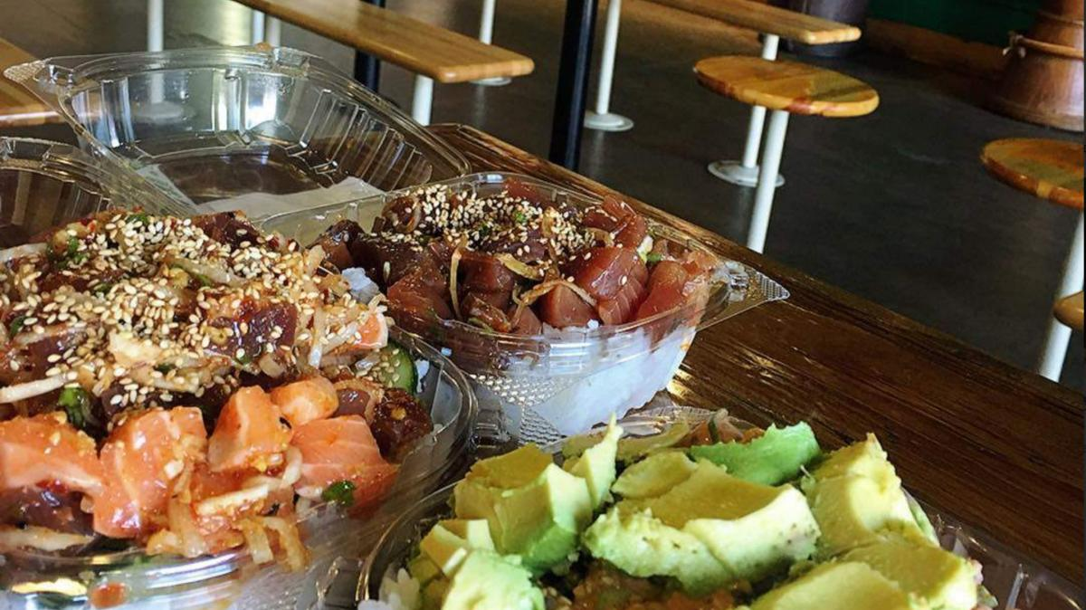 Three bowls from North Shore Poke Co