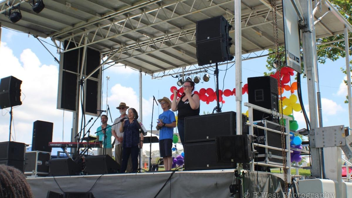 Mayor Rogero speaking at the Knox Pridefest in 2017 courtesy of B West Photography