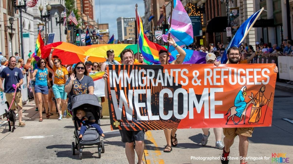 Pro-Immigration supporters marching in the Knoxville Pride Parade in 2018 courtesy of Steve Soaringoak