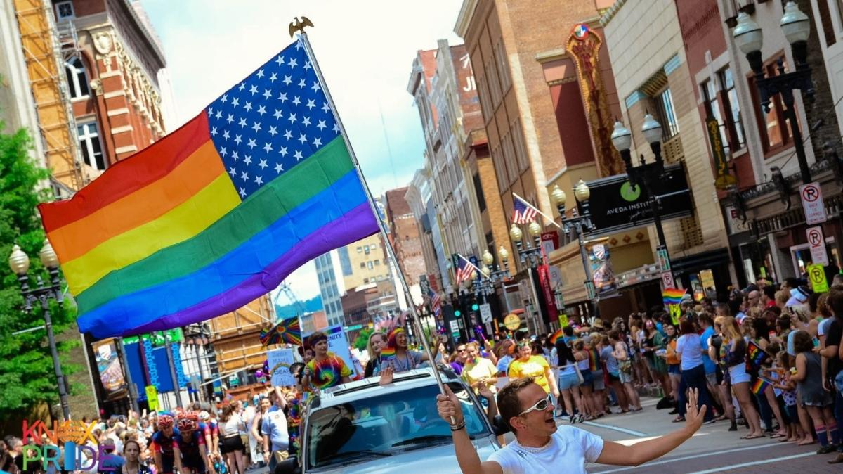 View down Gay Street during the Knox Pride Parade in 2018 courtesy of Taryn Ferro
