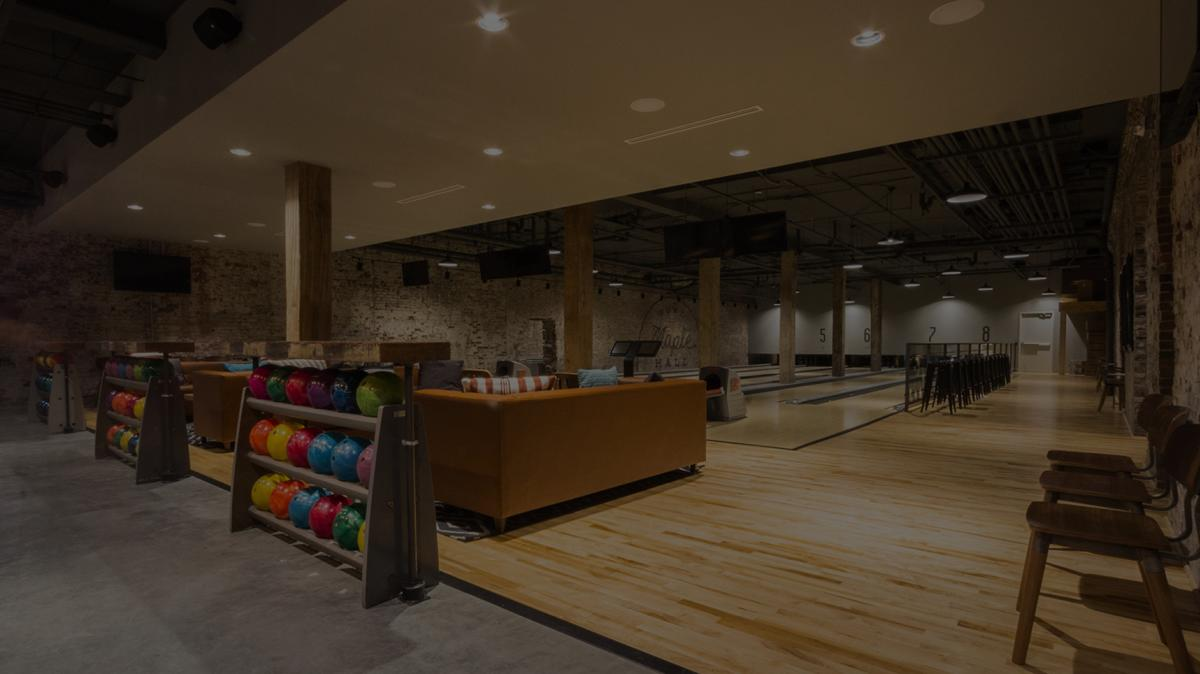 Maple Hall bowling alley after business hours