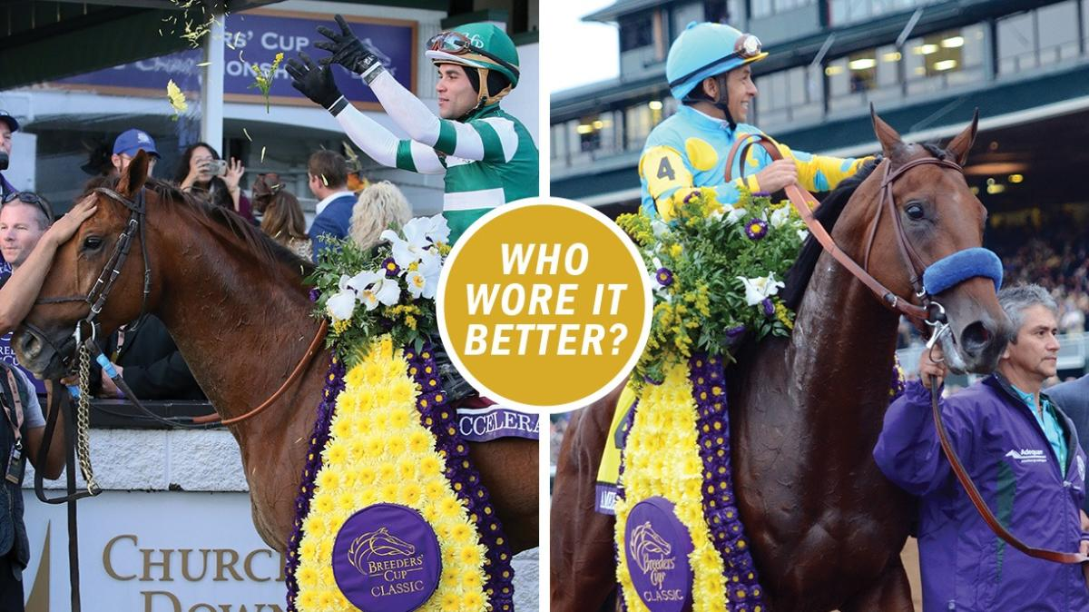 "A two panel image with two different horses and jockeys with a Breeders' Cup winner's laurel that says ""Who wore it better?"" in the center."